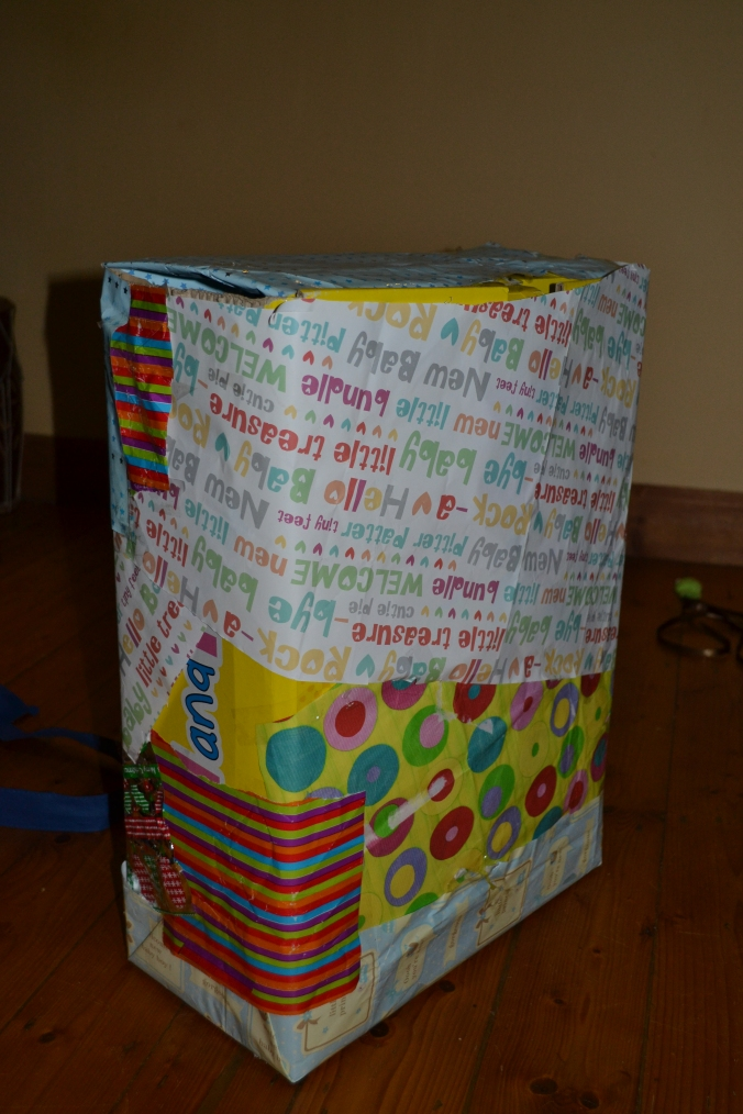 Now, place the gathered ingredients into the afore mentioned box, et voila! Your birthday present is assembled!