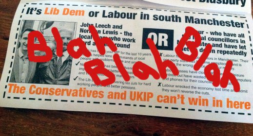 I have obscured the main text of this leaflet out of fairness to the other candidates (not a childish impulse to deface election material).
